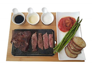 Cooking Stone Complete Set Lava Hot Steak Plate and Cold Lava Rock Hibachi