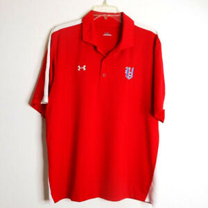 Under Armour Men's Large Golf Polo Shirt Short Sleeve Red with White Pinstripes $22.00