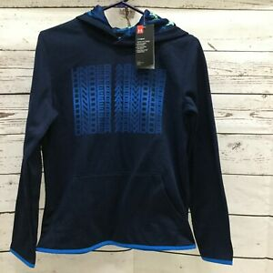 Under Armour Youth XL Cold Gear Navy Blue Loose Pull Over Hoodie $25.99