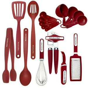 KitchenAid 17-Piece Utensils Set in Red Kitchen Cooking Accessory Free Shipping