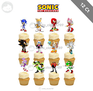 12 Sonic the Hedgehog Cupcake Cake Toppers Food Picks Favor Birthday Party Kids