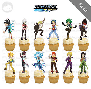 12 Beyblade Burst Cupcake Cake Toppers Food Picks Favor Birthday Party Kids