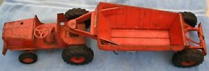 DOEPKE 1950s EUCLID PRESSED STEEL TRUCK BOTTOM DUMPING EARTH HAULER ORANGE