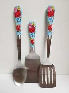 PIONEER WOMAN SWEET ROSE BLUE FLORAL 3 PIECE STAINLESS UTENSIL KITCHEN TOOL SET