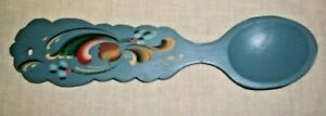 NORWEGIAN ROSEMALING 9.5 INCH WOOD SPOON SCALLOPED EDGE HANDLE NORWAY