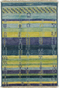 Hand-knotted Shalimar Blue Wool Rug 4'1