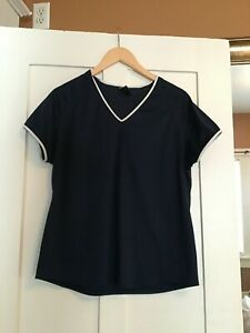 Nike Women's XL Dry Fit Top Shirt Athletic 16 18 Dark Blue With White Trim $7.98