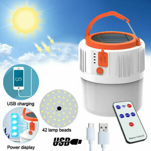 Solar Lamp Outdoor Rechargeable Camping Lantern Hiking Tent Light LED Flashlight