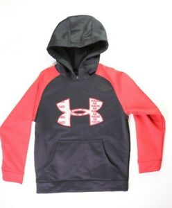 Under Armour Youth Boys Small Storm 1 Black Red Big Logo Pullover Hoodie Sweater $17.59