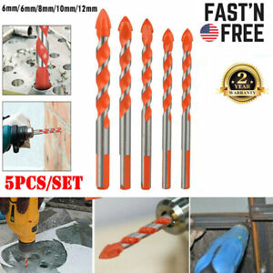 5PC Multifunctional Ultimate Drill Bit Ceramic Glass Punching Hole Working Set