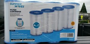 Summer Waves Polygroup Pool Filter Cartridge 4 Pack A or C Type Replacement