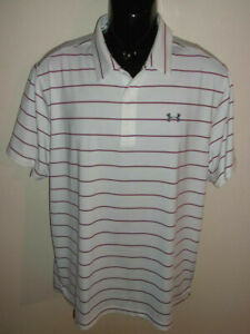 Men's Under Armour Performance Striped Short Sleeve Golf Polo Size XL 1327990 $9.99