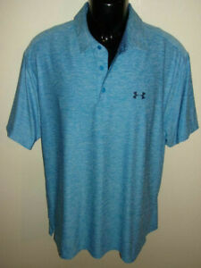 Men's Under Armour Playoff Heather Blue Short Sleeve Golf Polo Size XL 1253479 $9.99