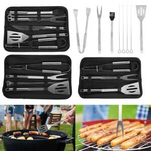 3/7/9pcs BBQ Tools Set Outdoor Barbecue Stainless Steel Cooking Skewers Grill US