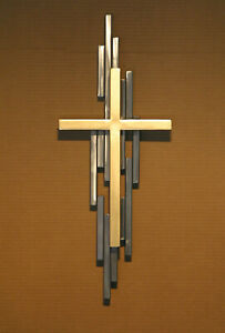 Abstract Metal Cross Sculpture Mid Century Modern Religious Metal Wall Art $124.99