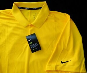 NWT NIKE DRI FIT GOLF MENS YELLOW STRETCHABLE 2XL PERFORMANCE POLO SHIRT $55 $41.00