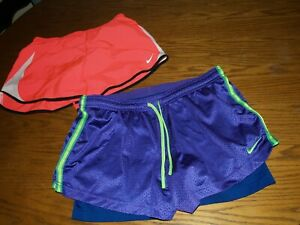Lot Of 2 Nike Lined GYM Athletic Women's Workout DRI FIT Shorts Running Sz L XL $16.00