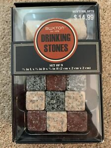 Buxton Drinking Set Stones Rocks Whiskey Cubes Drinks, Wine, Beer-New and Sealed