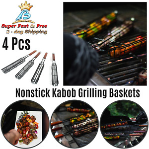 BBQ Grill Accessories Non Stick Kabob Grilling Basket Heavy Gauge Steel 4 Pieces