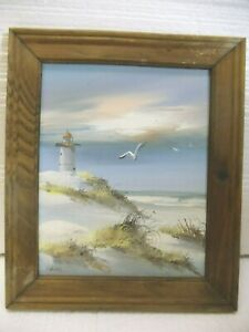 Vintage Original Beach Lighthouse Oil Painting Signed by Chanel. $27.50