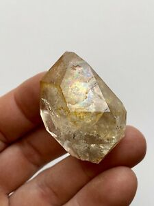 44mm Herkimer Diamond Quartz Crystal, Golden Healer, Iridescent Rainbows