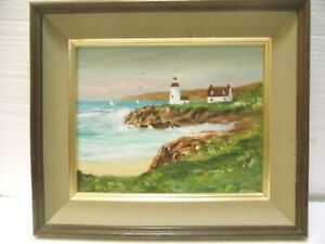 ORIGINAL SIGNED OIL PAINTING BY ARTIST CHARLES THOMAS GARLAND BEAUTIFUL SEASCAPE $29.50