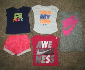 Nike Under Armour Mixed Clothing Lot Girls Size 12 Months Shirt Shorts $39.99