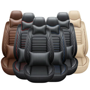 5D Car Seat Covers Full Set w Waterproof Leather Universal for Sedan SUV Truck