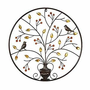 MKUN Iron Wall Sculptures - Metal Round Wall Decor with Tree and Birds Art Great $67.08