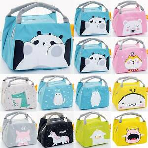 Insulated Cartoon Print Lunch Bag Women Kids Thermal Cool Food Office Picnic Box