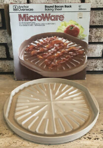 """ANCHOR HOCKING OVENWARE MICROWARE MICROWAVE OVEN BACON RACK COOKER 12"""" Round USA"""