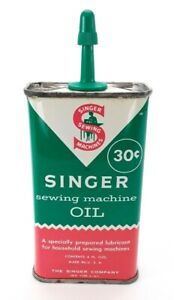 Singer Sewing Machine Oil Vintage 4 oz Can with Plastic Spout Empty $8.99