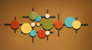 Abstract Metal Sculpture Wall Art Mid Century Modern Retro Hand Made color $205.00