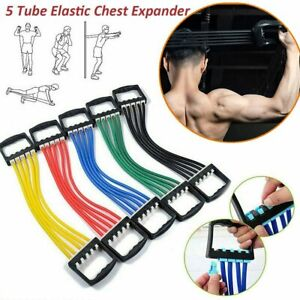 Adjustable 5 Spring Rubber Chest Expander Pull Stretcher Muscle Home Training