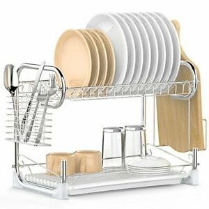 Dish Drying Rack, iSPECLE 2-Tier Dish Rack with Utensil Holder, Cutting Board Ho