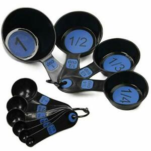 Chef Craft Easy to Read Plastic 10 Piece Blue/Black Measuring Cup