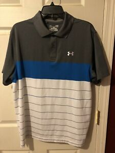 UNDER ARMOUR LOOSE FIT HEAT GEAR POLO SHIRT LARGE GRAY BLUE WHITE GOLF TENNIS $19.99