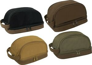 Deluxe Canvas Travel Kit Two Tone Dopp Toiletry Bag with Carry Handle $12.99