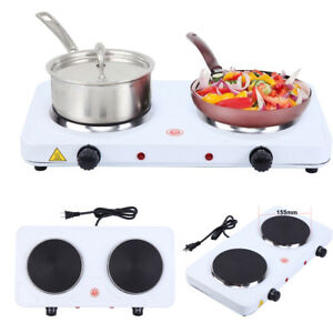 Electric Double Burner Hot Plate Heating Cooking Stove Kitchen Home Camping