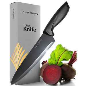 Chef Knife Kitchen Knife 8-Inch Stainless Steel Cooking Cutlery Butcher Black