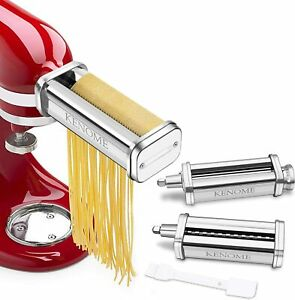 Kenome 3-Piece Pasta Roller & Cutter Attachment Set for KitchenAid Stand Mixers