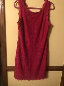 Adrianna Papell Lace Lined Dress Hot Pink Size 16 MSRP $269 Gorgeous $24.00
