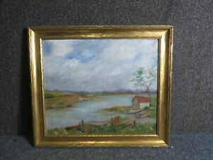 Antique Painting The Fish House Appoquinmink River Odessa Delaware by J.H.W.1936 $200.00