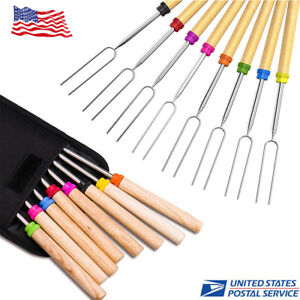 8pcs  Telescoping Marshmallow Roasting Sticks 32 Inch Extendable Forks for BBQ