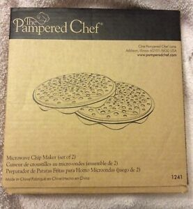 PAMPERED CHEF Microwave Chip Maker 1241 2 NIB Stackable Trays.