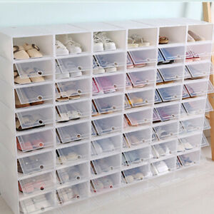 6 12 24X Foldable Shoe Box Storage Small Transparent Case Stackable Organizer US