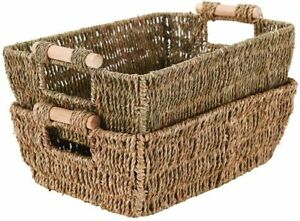 2 Natural Hand Woven Wicker Seagrass Storage Basket with Wooden Handle Stackable