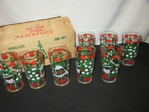 Vintage Christmas Glass Glasses Hazelware Holiday Glassware Tree Wreath Y761