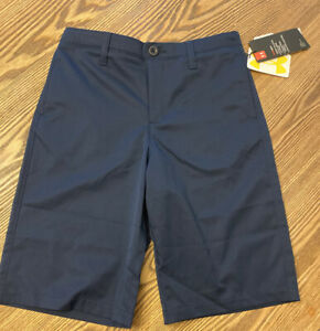 Under Armour UA Heatgear Boys Youth Size 14 Navy Athletic Golf Shorts Loose $25.00