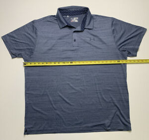 Under Armour Mens Blue Short Sleeve Polo Shirt Heat Gear Loose Fit Size 2XLarge $21.95